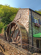 Water Mill Images Prints - Le Moulin de Lecq Inn Print by Gill Billington