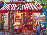 Night Cafe Painting Framed Prints - Le Petite Bistro Framed Print by  David Lloyd Glover