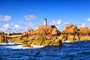 Lighthouse Sea Prints - Le Phare du Paon Lighthouse Brittany Ile de Brehat Print by Colin and Linda McKie