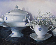 Interior Still Life Paintings - Le Porcellane Di Casa by Danka Weitzen