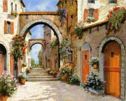 Village Painting Framed Prints - Le Porte Rosse Sulla Strada Framed Print by Guido Borelli