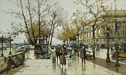 Victorian Drawings Prints - Le Quai de Louvre Paris Print by Eugene Galien-Laloue