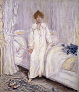 Nightgown Paintings - Le Reveil by Jean Francois Raffaelli