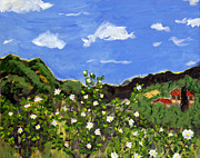 Tuscan Hills Paintings - Le Rose e Nube Biance by Seonaid  Ross