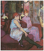 Fine Art  Of Women Painting Posters - Le Salon de rue des Moulins Poster by Henri De Toulouse-Lautred