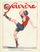 Soccer Drawings Prints - Le Sourire 1927 1920s France Football Print by The Advertising Archives