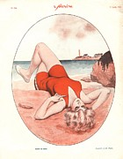 Swimsuits  Swimming Costumes Posters - Le Sourire 1929 1920s France Holidays Poster by The Advertising Archives