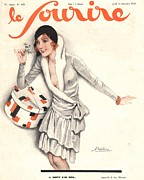 Vintage Clothing Prints - Le Sourire 1929 1920s France Mistletoe Print by The Advertising Archives