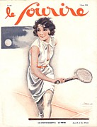 Nineteen Thirties Drawings Posters - Le Sourire 1930 1930s France Tennis Poster by The Advertising Archives