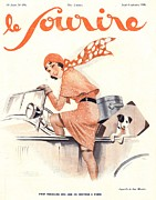 Thirties Drawings Posters - Le Sourire 1930s France Cars Magazines Poster by The Advertising Archives