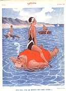 Swimsuits  Swimming Costumes Posters - Le Sourire 1930s France Holidays Poster by The Advertising Archives