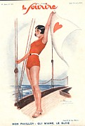 Swimsuits  Swimming Costumes Prints - Le Sourire 1931 1930s France Sailing Print by The Advertising Archives