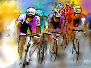 Bicycle Drawings Posters - Le Tour de France 03 Poster by Miki De Goodaboom