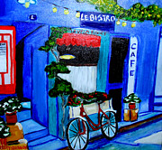 Cafes Painting Originals - Le Velo Rouge by Rusty Woodward Gladdish