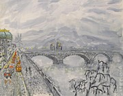 Vltava River Paintings - Leaden Winter In Golden Prague  by Victor Berelovich