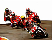 Lithographs Posters - Leading The Pack  Kevin Schwantz Poster by Iconic Images Art Gallery David Pucciarelli