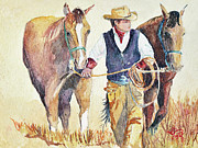 Cowgirl Prints Paintings - Leading The Team by Toyah Taylor