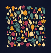 Colorful Leaves Prints - Leaf Collection Print by Budi Satria Kwan