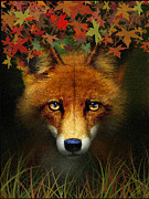 Fall Grass Framed Prints - Leaf Fox Framed Print by Robert Foster
