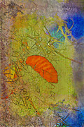 Tree Leaf Mixed Media Posters - Leaf In The Moss Poster by Deborah Benoit