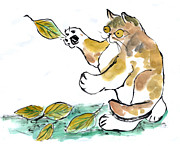 Pictures Of Cats Prints - Leaf Pile Print by Ellen Miffitt