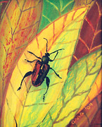Insect Glass Art Posters - Leaf Surfer Poster by Anna Skaradzinska