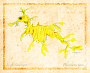 Biological Mixed Media Posters - Leafy Seadragon Poster by William Depaula