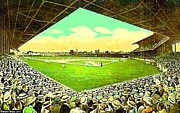 League Painting Prints - League Park Stadium In Cleveland Oh Around 1915 Print by Dwight Goss