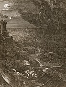 Leander Swims Over The Hellespont Print by Bernard Picart