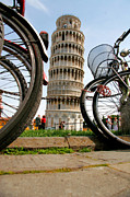 Pisa Posters - Leaning Bicycles of Pisa Poster by Peter Tellone