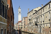 Canals Framed Prints - Leaning campanile of San Giorgio dei Greci church Framed Print by Sami Sarkis