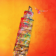 Europe Digital Art - Leaning Tower by Mark Ashkenazi