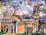 Religious Mixed Media Prints - Leaning Tower of Pisa Italy  Print by Ginette Callaway