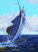 Striped Marlin Prints - Leap of Freedom Off0048 Print by Carey Chen