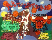 Michael Jordan Painting Originals - Leaping Buildings by Mj  Museum