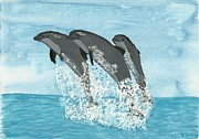 Leaping Painting Framed Prints - Leaping Dolphins Framed Print by Tracey Williams