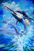 Scarpace Paintings - Leaping Marlin by Tom Dauria
