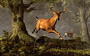 Red Deer Posters - Leaping Stag Poster by Daniel Eskridge
