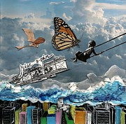 Swing Mixed Media Originals - Learning to Fly and Daring to Dream by Danica Wixom