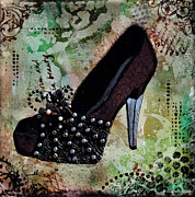 Janelle Nichol Posters - Leather and Lace Shoes with abstract background Poster by Janelle Nichol