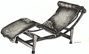 Chaise Drawings Posters - Leather Chaise Longue Poster by Lee-Ann Adendorff