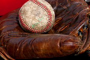 Baseball Close Up Framed Prints - Leather Glove and Baseball Framed Print by Art Block Collections