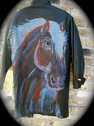 Horses In Art Tapestries - Textiles - Leather Horse Art Jacket by Heather Grieb