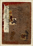 Kanji Prints - Leather Journal Collage Print by Carol Leigh