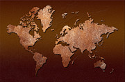 Planet Map Digital Art Prints - Leather World Map Print by Zaira Dzhaubaeva