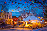 Streetlights Prints - Leavenworth Gazebo Print by Inge Johnsson
