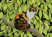 Cat Portrait Posters - Leaves Poster by Ditz