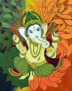 Ganapathi Paintings - Leaves Ganesha by Rupa Prakash
