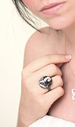 Nature Inspired Jewelry - Leaves In Black And White Ring by Rony Bank