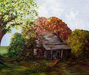 Log Cabin Mixed Media - Leaves on the Cabin Roof by Eloise Schneider